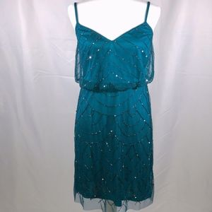 Adrianna Papell Art Deco Beaded Teal Dress